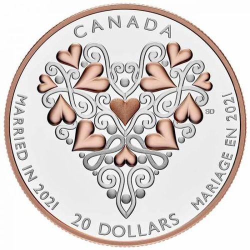 Stříbrná mince Married in 2021 - svatební