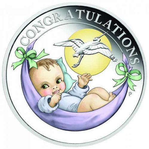 Stříbrná mince Newborn Baby 1/2 OZ - narození dítěte