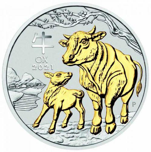 Stříbrná mince pozlacená rok Buvola 1 OZ - Lunární série