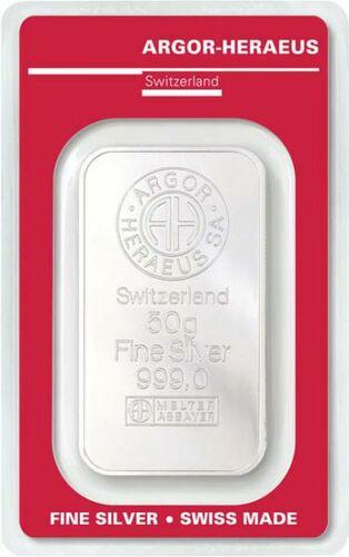 Stříbrný investiční slitek 50g Argor Heraeus