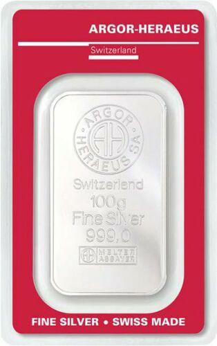 Stříbrný investiční slitek 100g Argor Heraeus