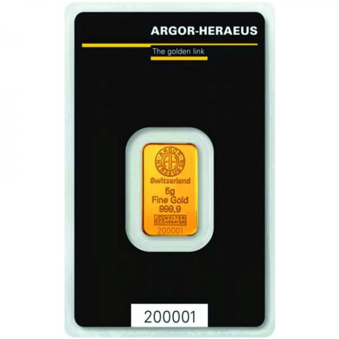 Investiční zlatý slitek 5g Argor Heraeus