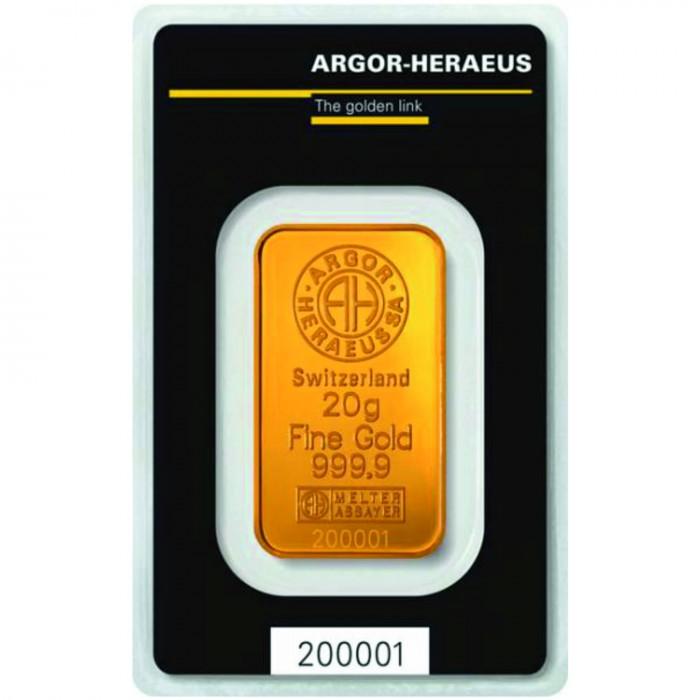 Investiční zlatý slitek 20g Argor Heraeus